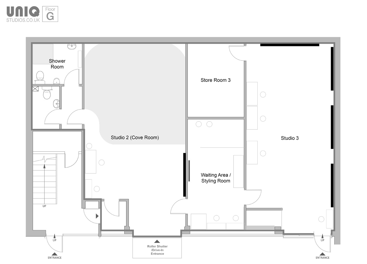 Photo Studio Hire Floor Plan Video and Casting Space Rental London