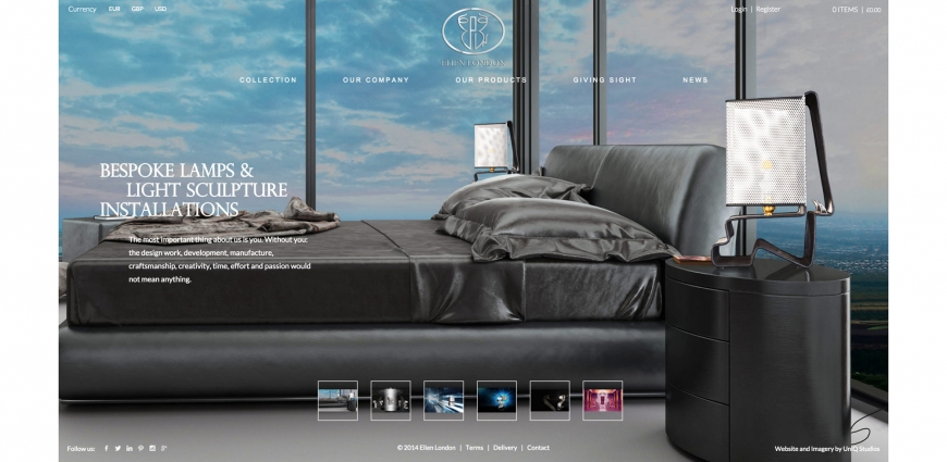 Elien High End Lamps Web Design