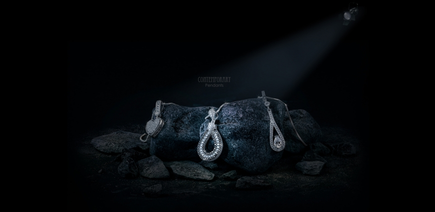 Diamond Pendants On Rocks Creative Jewellery Photography